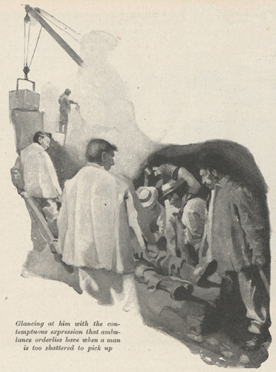 Illustratiion of a group of men looking at another man who is lying on the ground.