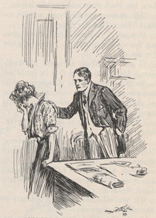 A drawing of a man and a woman, the woman with her face in her hand and the man with his hand on her shoulder.