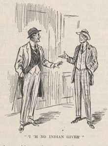 A drawing of two men standing facing each other and talking.