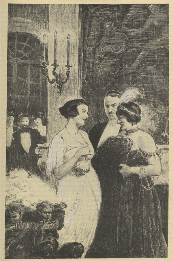 A drawing of two woman dressed in evening gowns talking to each other while a glaring man stands between them.