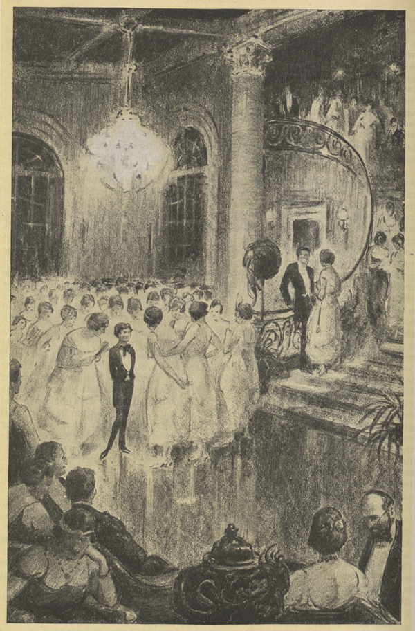 A drawing in a grand ball room of a group of women in gowns flocking around a small man dressed in evening clothes.