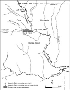 Map of route of Lewis and Clark in Kansas and Missouri