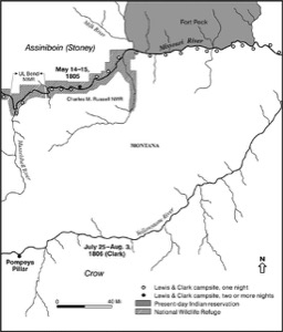 Map of route of Lewis and Clark in Eastern Montana