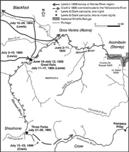 Map of route of Lewis and Clark in Western Montana as Far as Three Forks