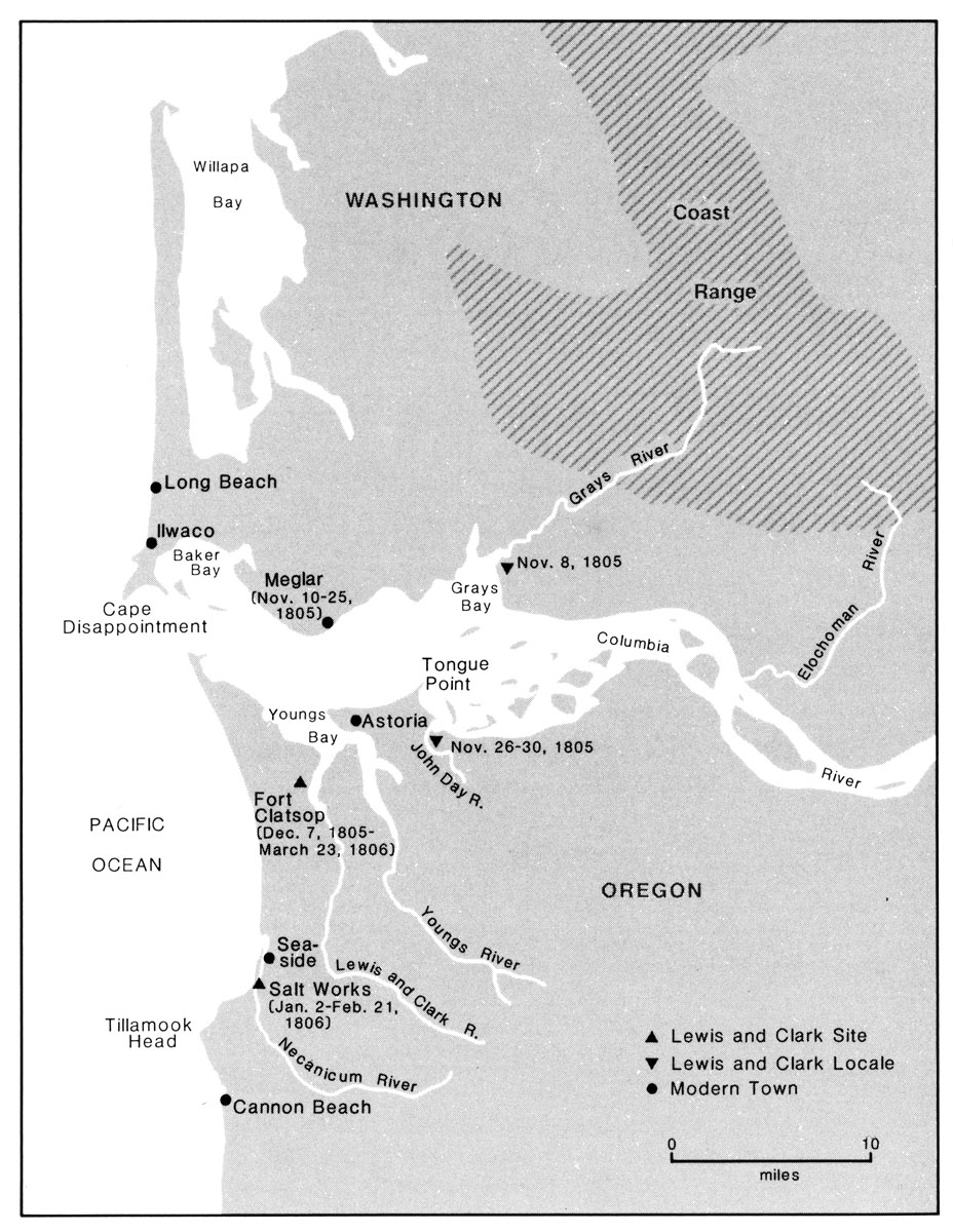 November Journals Of The Lewis And Clark Expedition - Fort clatsop on map of us